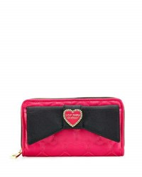 Betsey Johnson Boxed Love Bow Zip Around Wallet Black