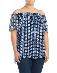 Jones New York Plus Printed Off The Shoulder Blouse Multi