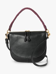 And Or Carmen Leather Saddle Cross Body Bag Black