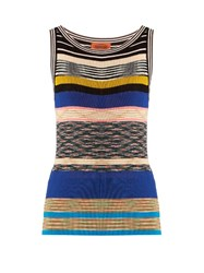 Missoni Striped Ribbed Knit Top Blue Multi