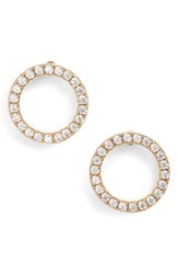Nordstrom Pave Open Disc Stud Earrings Clear Gold