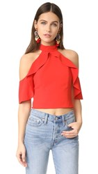 Alice Olivia Cabot Cold Shoulder Ruffle Crop Top Poppy