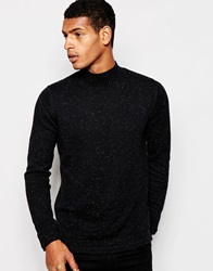 Selected Homme Turtle Neck Jumper With Fleck Black