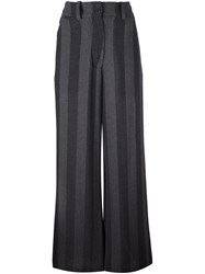 Lost And Found Ria Dunn Striped Wide Leg Trousers Grey