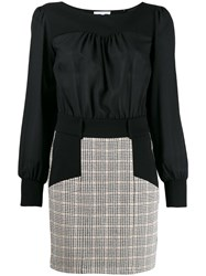 Patrizia Pepe Panelled Check Dress Black