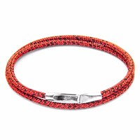 Anchor And Crew Red Noir Liverpool Silver Rope Bracelet