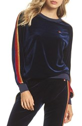 Aviator Nation Velvet Crewneck Sweatshirt Navy