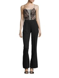 Abs By Allen Schwartz Point D'esprit And Pinstriped Jumpsuit Charcoal