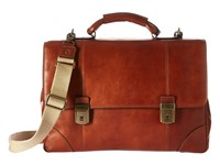Bosca Dolce Collection Double Compartment Flapover Brief Amber Briefcase Bags Bronze