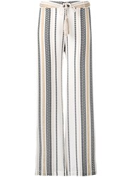 Zeus Dione Embroidered Straight Trousers White
