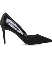 Office Freak Out Suede And Faux Leather Courts Black Suede Croc