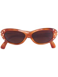 Claude Montana Vintage Studded Oval Sunglasses Brown