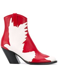 A.F.Vandevorst Cut Off Bird Mid Calf Boots Red
