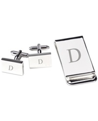 Bey Berk Monogrammed Silver Plated Rectangular Design Cufflinks And Money Clip Gift Set