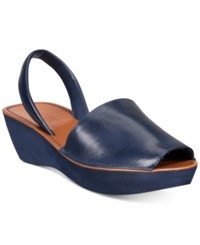 Kenneth Cole Reaction Women's Fine Glass Platform Wedge Sandals Women's Shoes Navy