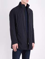 Armani Collezioni Faux Fur Lined Quilted Raincoat Navy
