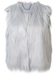 Elie Tahari Furred Effect Cropped Gilet Grey