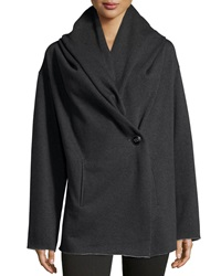 Raison D'etre Asymmetric Hooded Knit Jacket Black