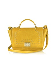 Leonardo Delfuoco Studded Yellow Leather Ipad Bag