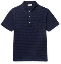Alex Mill Striped Slub Cotton Jersey Polo Shirt Indigo