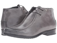 Messico Max Grey Leather Men's Dress Flat Shoes Gray