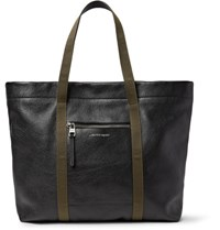 Alexander Mcqueen Webbing Trimmed Full Grain Leather Tote Bag Black