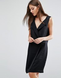 Selected Femme Lina Tailored Dress With V Neck Black