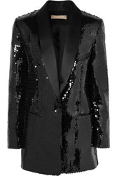 Michael Kors Collection Silk Satin Trimmed Sequined Crepe Tuxedo Jacket Black