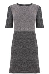 Oasis Tweed Patched Shift Dress Grey