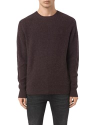 Allsaints Lymore Crew Neck Jumper Damson Red Marl