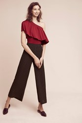 Anthropologie Gemma One Shoulder Top Plum