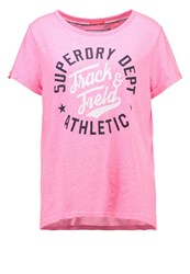 Superdry Trackster Print Tshirt Pink Sorbet Snowy