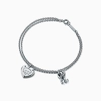 Tiffany And Co. Return To Tiffanytm Love Heart Tag Key Bracelet In Sterling Silver Small. No Gemstone
