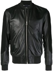 Paul Smith Ps By Leather Bomber Jacket Black