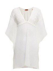 Missoni Mare Metallic Crochet Knit Kaftan White