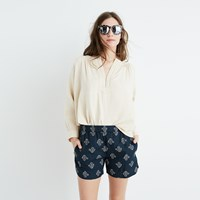 Madewell Drapey Pull On Shorts In Flowerstamp Baroque White
