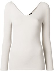 Giorgio Armani Long Sleeve Fitted Sweater Nude And Neutrals