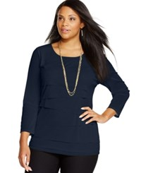 Alfani Plus Size Tiered Top Only At Macy's Modern Navy