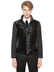 Emporio Armani Ponyskin And Wool Down Jacket