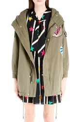 Saint Laurent Women's Patch Detail Twill Military Parka