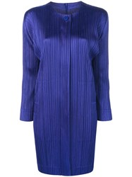 Issey Miyake Pleats Please By Micro Pleated Coat Blue