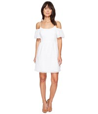 Kensie Eyelet Dots Dress Ks4k7683 White Women's Dress