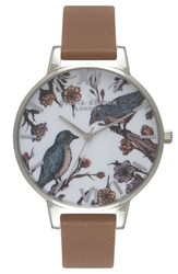 Olivia Burton Women's 'Animal Motif' Leather Strap Watch 38Mm Taupe White