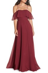 Hayley Paige Occasions Chiffon Cold Shoulder Gown Burgundy
