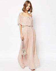 Asos Ruffle And Tiered Off Shoulder Maxi Dress Pink