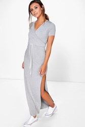 Boohoo Jo Wrap Front Drawstring Waist Maxi Dress Grey Marl