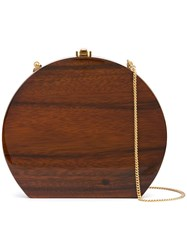 Rocio Rounded Shape Clutch Bag Brown