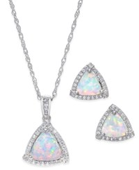 Macy's Lab Created Opal 7 8 Ct. T.W. And White Sapphire 1 3 Ct. T.W. Pendant Necklace And Matching Stud Earrings In Sterling Silver