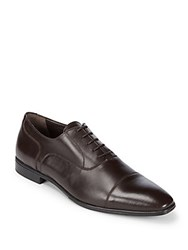 A. Testoni Leather Cap Toe Oxford Shoes Brown