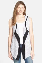 Curio Hooded Open Front Vest White